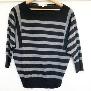 Ann Taylor LOFT Gray Black Striped  Sz M